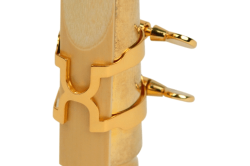 H-ligature and cap for metal mouthpieces, tenor saxophone.